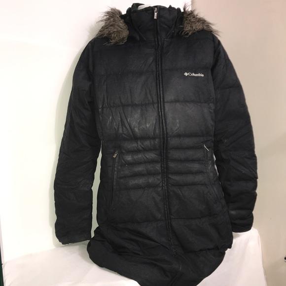 Columbia Black Puffer Winter Fur Lined Maxi Jacket